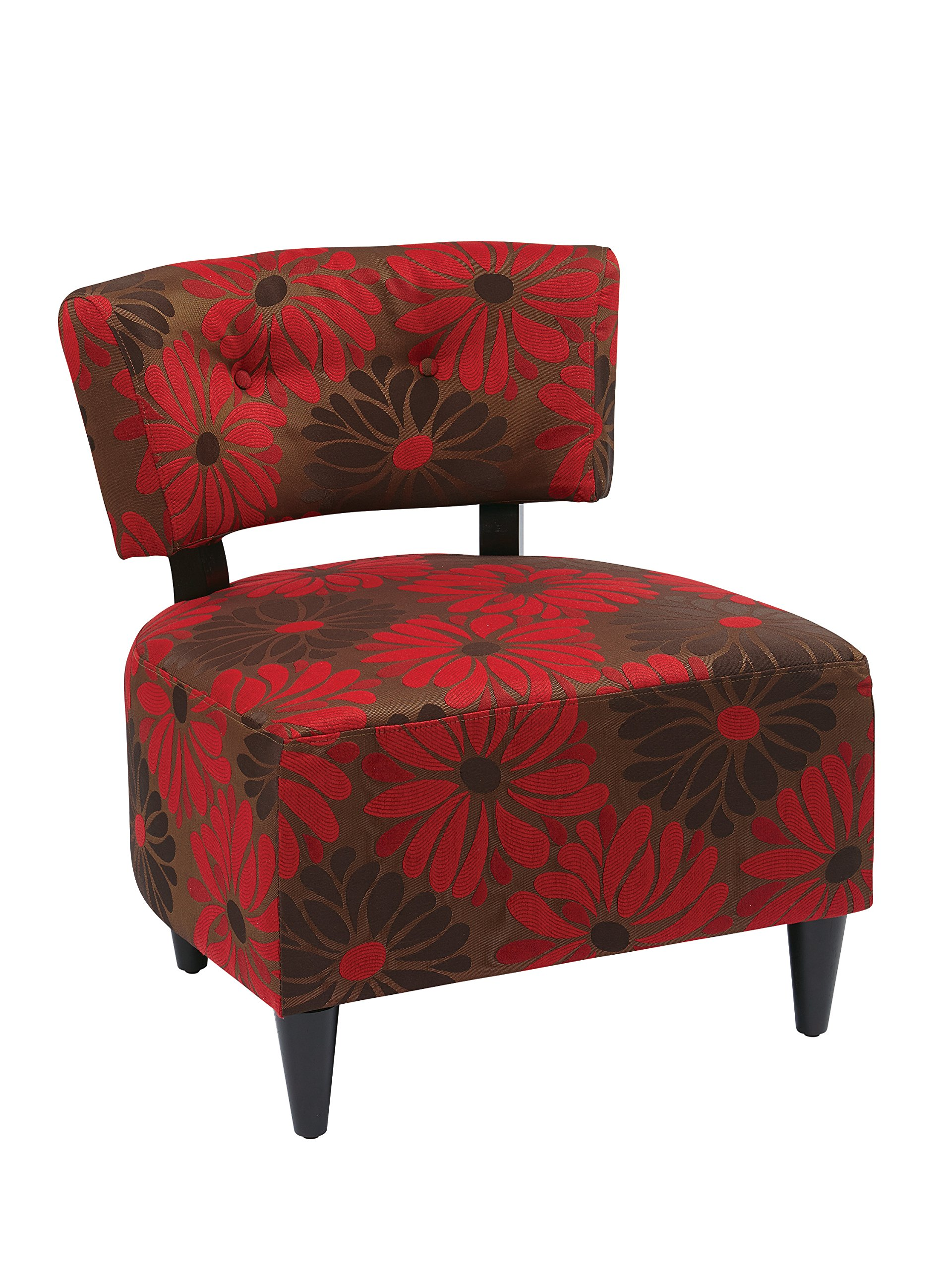 Red and Brown Flower Print Fabric Accent Chair