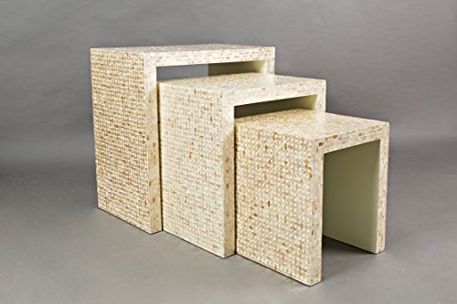 Basket Weave Seashell Nesting Tables