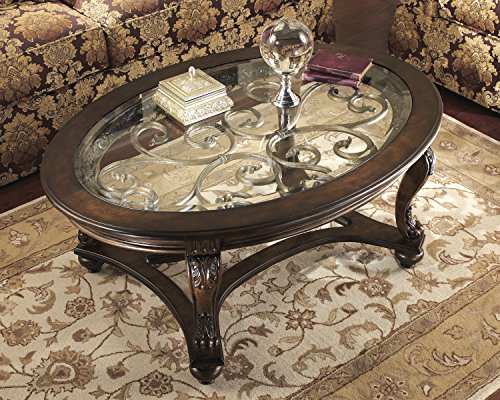 Dark Brown Wood Oval Cocktail Table