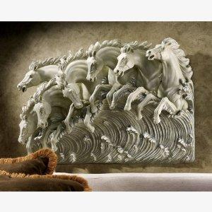 wild horses 3d wall statue